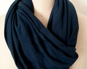 Infinity Scarf Navy Women modal cashmere blend Jersey Knit Circle Loop Blue Shawl
