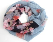 Floral Scarf Women Infinity Scarf Shawl Scarf Chiffon Scarf Circle Scarf Women Scarves  Valentines Day Christmas gifts for her Holiday