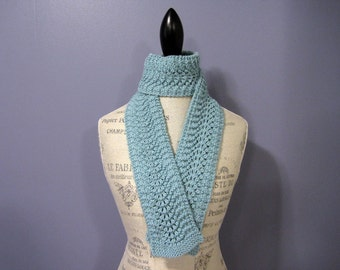 CLEARANCE - Turquoise Feather and Fan Scarf, Hand Knit Women's Scarf, Slender Fashion Scarf, Gift for Mom, Teacher Gift, Spring Scarf