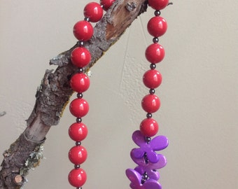 Beaded, Swarovski Pearls, Red, Necklace