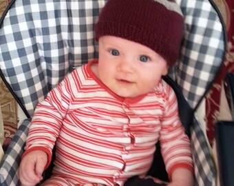 Wool baby hat - burgundy baby beanie - baby grey stripes hat - warm winter wool hat - little grey pom pom