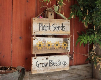 Plant Seeds Grow Blessings 3 piece Garden Sign