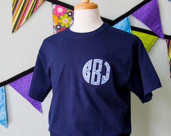 Circle Applique Paisley MONOGRAM TShirt Embroidered Applique Monogram Fabric Options