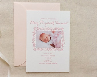 Letterpress Baby Birth Announcements with photos - 50 flat cards with envelopes - 1 ink color - custom designed, flower, pink, newborn BA122