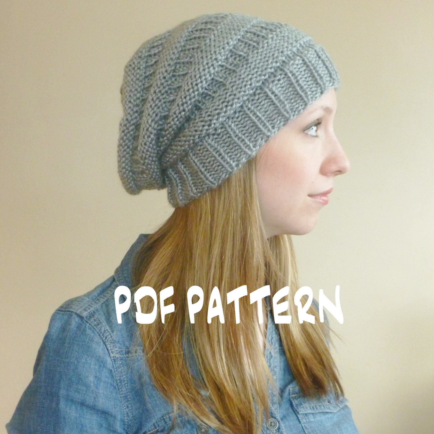 INSTANT DOWNLOAD Knitting PATTERN Slouchy Hat, Slouchy Beehive Beanie,Women