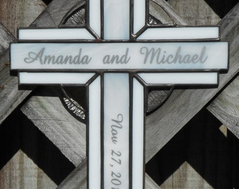 Personalized Stained Glass Cross Suncatcher #114