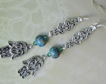 Hamsa earrings. Hamsa hand jasper crystal earrings. Kabbalah earrings. Hand of Fatima earring. Blue jasper Swarovski crystal Hamsa earrings.