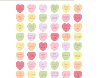 Valentine's Day Clipart, Sweethearts Candy Clip Art, Conversation Hearts Clipart (Royalty Free)