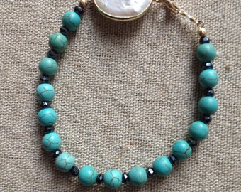 Mother of pearl turquoise and pyrite bracelet