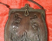 RESERVED Nocona Bag Nocona Purse Arts  Crafts Hand Tooled Leather Green Suede Lining No Better Made Handbag Rustic Vintage Western Cowgirl