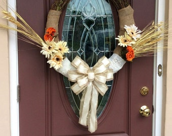 Thanksgiving Grapevine Wreath/ Burlap and Lace Wrapped Grapevine Wreath/ Fall Wreath/ Rustic Fall Wreath