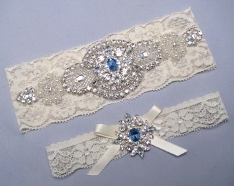 Rhinestone Pearl Bridal Garter Set, Crystal Stretch Lace Garter, Ivory / White Wedding Garter, Plus Size or Petite Garter, Something Blue