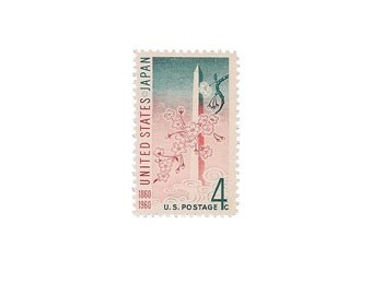 Set of 10  /////  1960 Vintage US Air Mail Stamps Ready to Use
