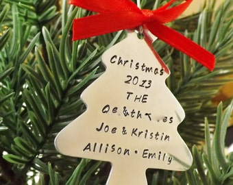 Personalized Christmas Ornament - Silver - Personalized Ornament - Hand Stamped Ornament