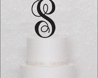 Interlocking Monogram Wedding Cake Topper in Black, Gold, or Silver Letter Initial