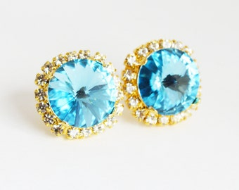 Bridesmaid Gifts Light Blue Swarovski crystal stud earrings with gold plated pave crystal setting Tiffany Blue Bridesmaid gift, Aquamarine