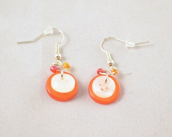 Dangle Earrings - Button Earrings - Button Jewelery - Hook Earrings - Orange Earrings - Orange Jewelry - Sewing Gifts - Button Gifts