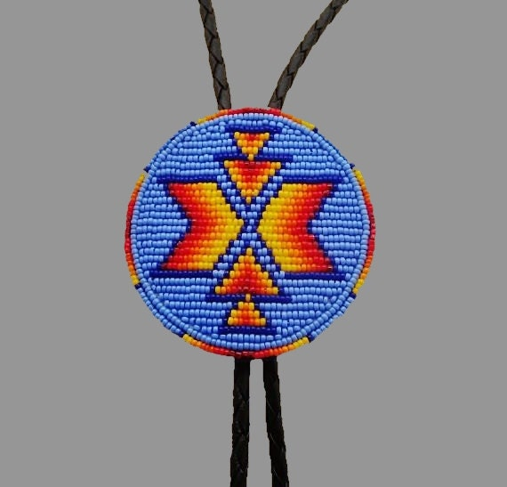 Mens Native American Beads: Men's Beaded Bolo Tie