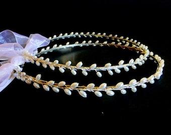 Wedding Crowns.Stefana.Orthodox Ceremony Crowns.Bridal Crowns.Pearl bridal headband.Wedding headband.Pearl Crowns.Στεφανα.Stephana.ERMIONI