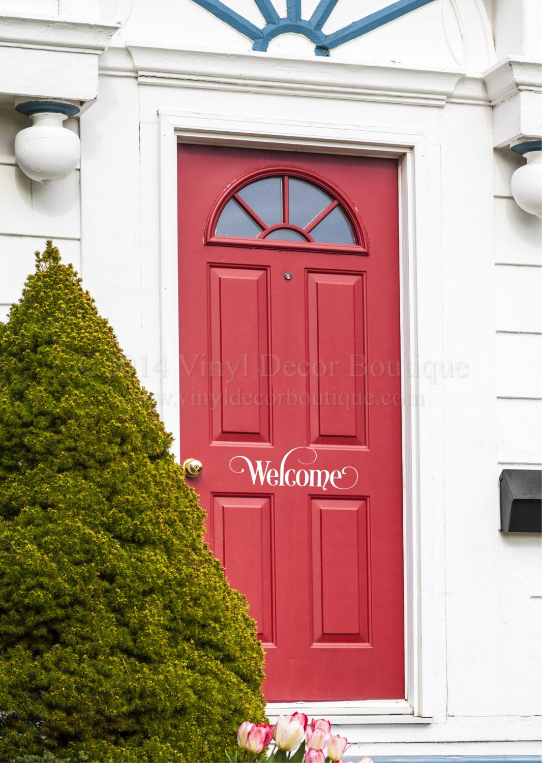 Welcome front door decal vinyl lettering wall words wall art for Door vinyl design