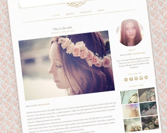 Stylish Blog Template — Feminine Blog Design — Premade Blogger Theme — Bohemian Blog Template – Gold Pattern — Elegant Blog / Vintage Martha
