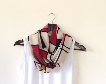 Colorful Rectangles Printed Circle Scarf, Geometric Infinity Scarf, Geometric Shapes, Women, Feminine, Fast Delivery