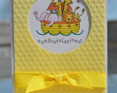 Stampin Up Hand coloured Noah's Arc Baby Congratulations Gender Neutral Card with Envelope