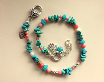 Turquoise, Coral, Czech Glass Beads, Pearls, and Silver Beads Double Wrap Charm Bracelet