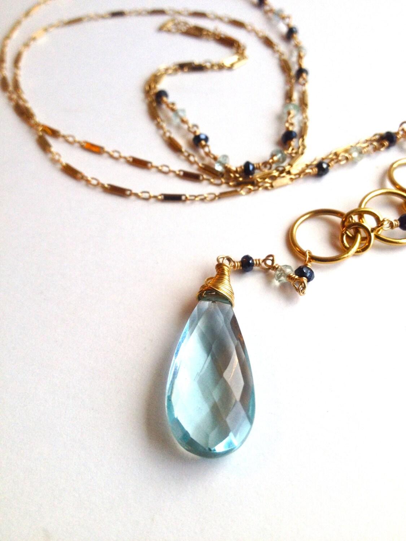 blue quartz necklace pyrite necklace by