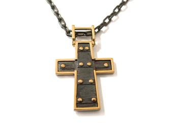 Cross Pendant - 18K Gold Pendant, 18K Gold Necklace, Mens pendant, solid gold pendant, Gold Cross, steampunk pendant, gold and black pendant