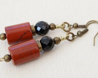 Terracotta and black earrings, jasper earrings, onyx earrings, red jasper earrings, brown and black earrings, gemstone earrings, UK seller