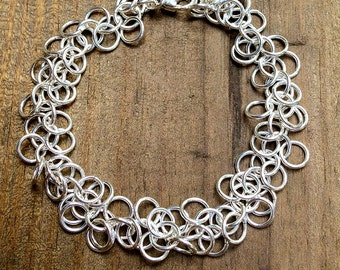 Women's Sterling Silver Chainmaille Bracelet, Shaggy Loops, 7 1/2 inch, 18 Gauge