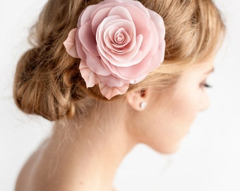 Blush Pink Flower Hair Clip - Bridal Rose Hair Clip - Blush Pink - Dusty Rose -  Wedding Hair Accessories