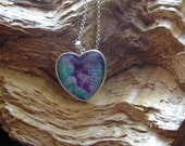 Necklace,Eco-Friendly Handmade Paper, Heart, Teal Green, White, Purple, Recycled, Fiber,Marbled,Heart, Pendant,Necklace,Valentine's Day Gift