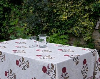 Block printed TABLECLOTH - Rust flower carnations