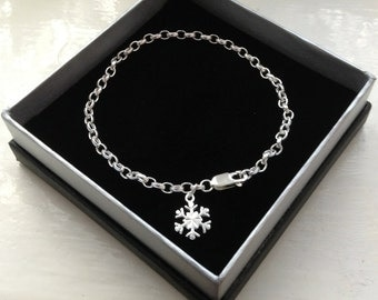 Snowflake Bracelet Sterling Silver - Limited Edition Snowflake Charm Bracelet