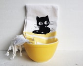 Sale- Black Cat Kitchen Dish Towel- White with Yellow Stripes-  Kitchen Decor, Tea Towel, Cat Lover Housewarming Gift, Animal, Kitten