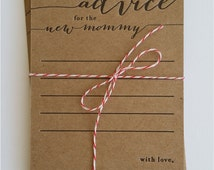 advice for the new mommy - letterpress - pack of 10 - baby shower game - rustic - country - keepsake - baby shower advice card