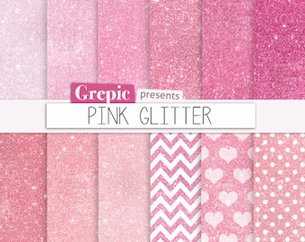 "Pink glitter digital paper: ""PINK GLITTER"" pink sparkles backgrounds glamour pink girly glitters, shiny chevron, hearts, polkadots patterns"