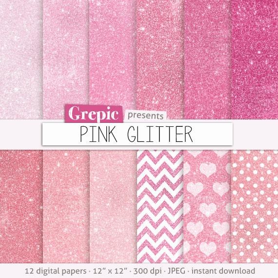 Pink glitter digital paper: PINK GLITTER pink