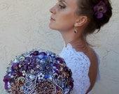 """Purple Haze Wedding Brooch Bouquet. """"Purple Fusion II"""" Keepsake Plum, Lavender Jewelry Bouquet, Bridal Broach Bouquet, Ruby Blooms Weddings"""