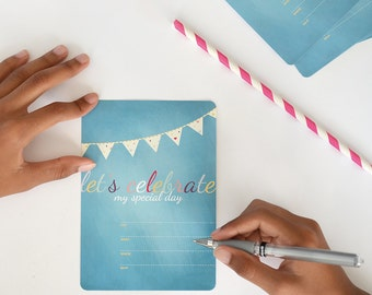 Party Invitations •  Little Hearts by Celebratink • Birthday Invitations • Pack of 10 • Hearts • Banner •  Turquoise