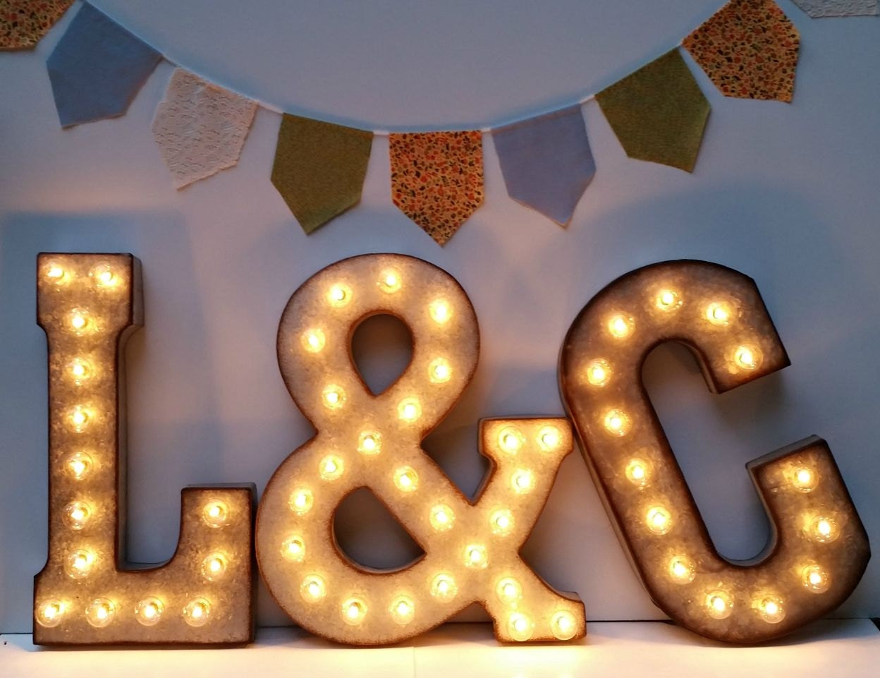 Galvanized metal marquee light letter christmas