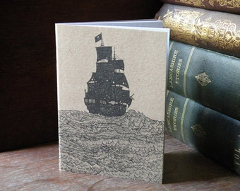 Pirate ship illustration A6 notebook/journal