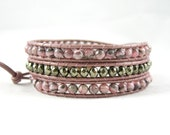 Pyrite Bracelet, Pink Wrap Bracelet, Pyrite Jewelry, Pink Bracelet, Rhodochrosite Jewelry