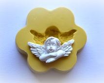 0875 Small Cherub Angel resting Silicone Rubber Flexible Food Safe Mold Mould- resin, cabochon, decoden, clay, fondant, wedding cake decor