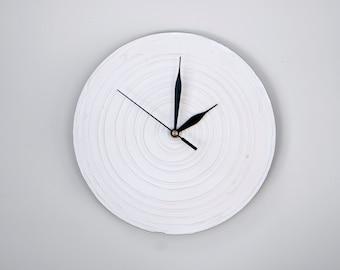 WHITE Clock Modern WALL CLOCK, White wall clock, wood clock, white home decor