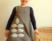 Wool blend grey sparkle tweed dress with pale blue and brown polka dot leaf applique, size 3T