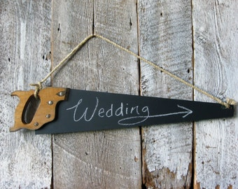 Reclaimed Vintage SAW Rustic Chalkboard Sign - Wall Art Chalkboard Sign - Great for the rustic wedding