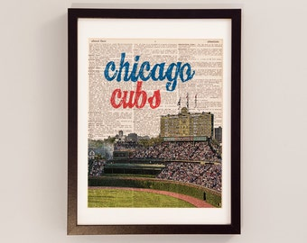 unique chicago cubs art related items etsy